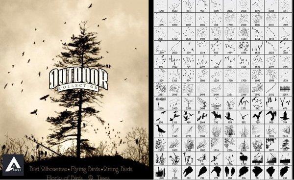 دانلود ۱۴۰ براش فتوشاپ پرندگان Ron's Birds Photoshop Brushes